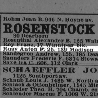 Rusy, Anton  1896 Chicago City Directory