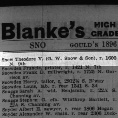 St. Louis City Directory 1896  Theodore V. Snow (G. W. Snow and Son)