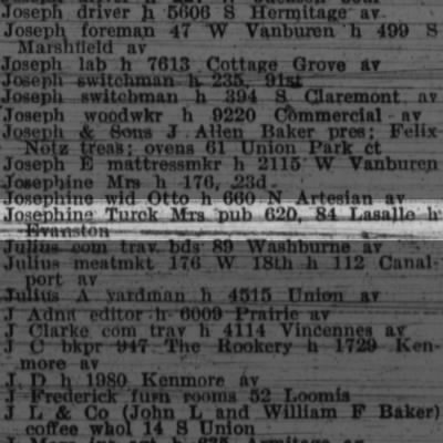 BAKER, Josephine Turck 1903 business address