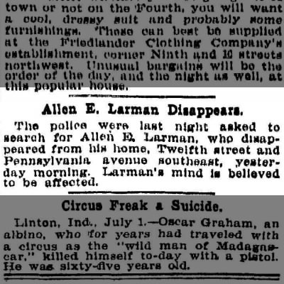 Allen E. LARMAN, a Great Grandfth of mine, report missing, Washington PosT.