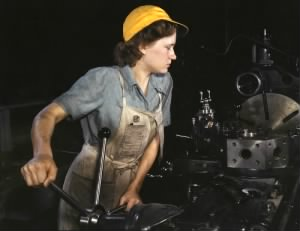 """Rosie"" the Riveter in a 1940s Factory"