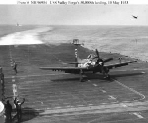 Commander Cecil V Johnson landing USS Valley Forge 1953