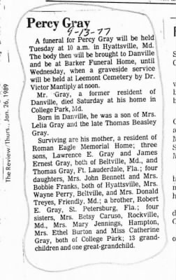 Percy Gray obit