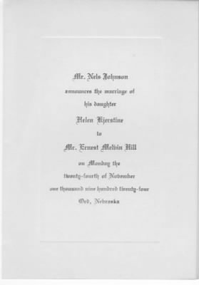 Marriage Annoucement, Ernest M. Hill & Helen K. Johnson