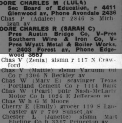 Charles V and Zenia Moore 1923 City Directory