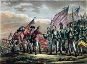 Fold3 Image - Gen. Burgoyne surrenders his troops at the Battle of Saratoga