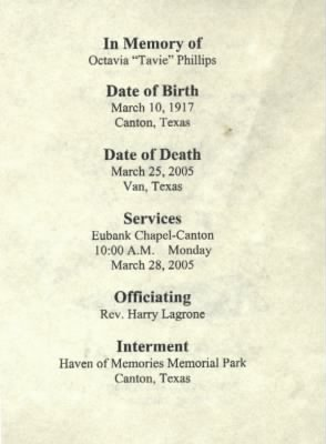Octavia Chaney Funeral Card