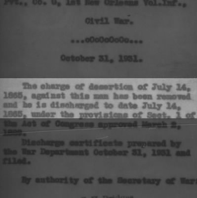 1865 Disertion Charges Dropped in 1931