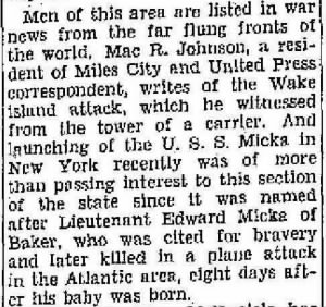 17 Oct. 1943 Billings Gazette, Montana USN Pilot, KIA Edward Micka