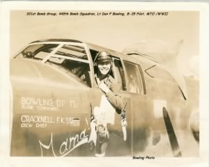 "Lt Dan Bowling in his favorite B-25 ""MAMA""  /Bowling Photo"