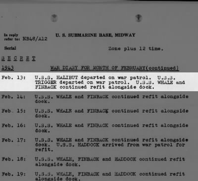 Midway/Trigger War Diary 2/13/43