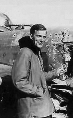 "Lt William ""Bill"" Poole and his B-25 Ship, shot-up, After Mission Inspection !  MTO"