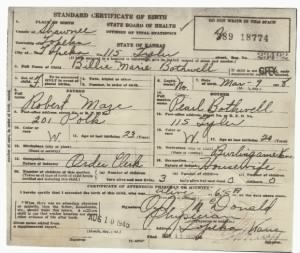 birth Certif. Billie Marie Bothwell