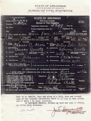 Billy Earl Allen Birth Certificate