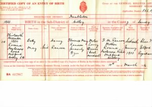 Birth Certificate of Betty May Moore