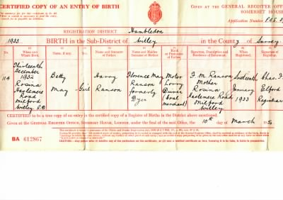 Birth Certificate of Betty May Moore - Fold3.com