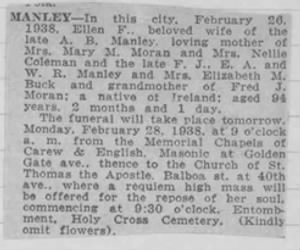 Ellen Frances Manley 26 Feb 1934