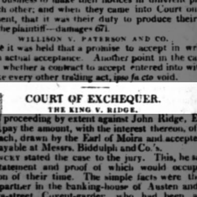Court case re. the Earl of Moira & Henry Austen, Jane Austen's brother