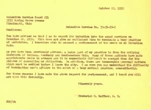 22 Oct 1952 Letter advising Board re: Selective Service No 33-51-19-1, F.D. Haffner