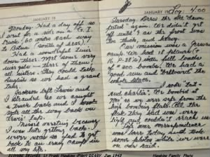 Frank Hawkins DIARY, example of his writing in his personal journal.