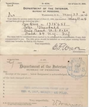 Peter Theobald's Military Pension Paperwork