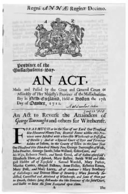 1711 :: Reversal of Attainders on Convicted Witches