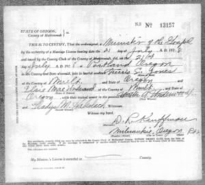 Marriage Certificate for Elsie Underwood and Ferris Jones