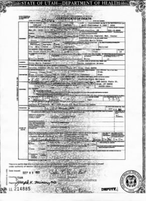 Harland Frederick Ormsbee Death Certificate