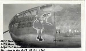 321st Bomb Group, 447th Bomb Squad, S/Sgt Abbondanza shot-down 20 Oct.'44