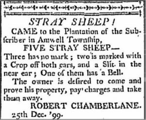 Robert Chamberlin 1800 Stray Sheep Notice.JPG
