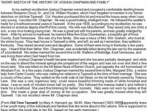 Joshua H. Chapman Chapter from Hansard's Old Time Tazewell.JPG