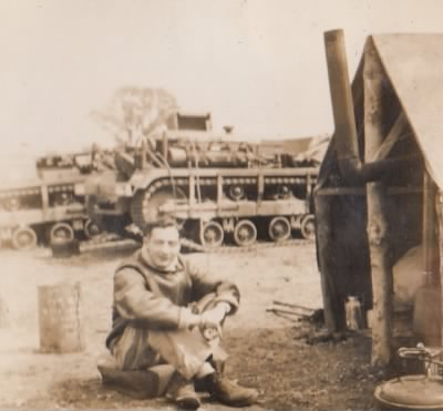 Lt. Feinberg, Cleet Track in Background, Winter 1943 - Fold3.com