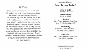 Jason E. Colbath Memorial Card