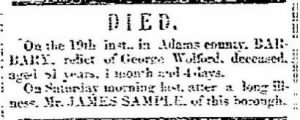 James Latta Sample 1856 Death Notice.JPG