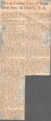 1943 Newspaper Article on Wm Briggs' B-24 Squandron