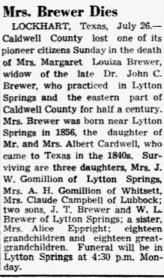 Margaret L Brewer 1942 Obit.JPG