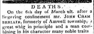 John Chamberlin 1823 Death Notice.JPG