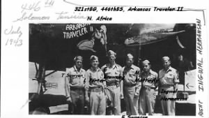 19 Feb. 1944, Italy, Ingwal with his original Crew and the Arkansas Traveler.