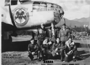 Lt Paul Matwicio with his CREW and B-25 Combat Ship /1944