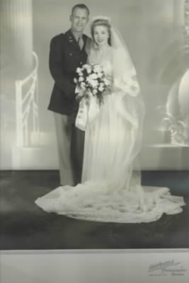 "Captian Gilbert George Vogt and Erna ""Blondie"" Vogt on their wedding day"
