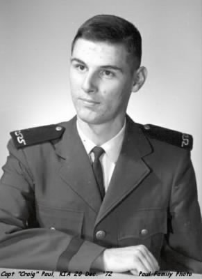 Vietnam KIA;  Captain Craig Paul, Shot-down over Hanoi, 20 Dec. 1972