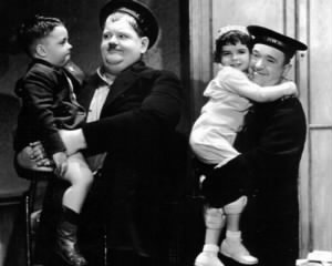 Spanky McFarland and Darla Hood visit the set of Our Relations with Laurel and Hardy