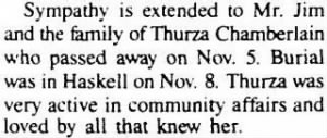 Thurza Chamberlain Nov 1989 Condolences for Her.JPG