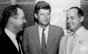 Senator Russell Long (left) with John F. Kennedy and New Orleans Mayor Chep Morrison in 1956.jpg
