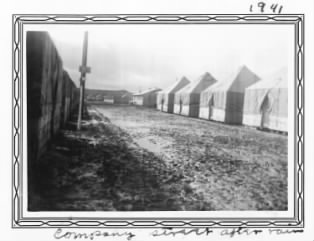 Camp Bowie Company Street after Rain-1941