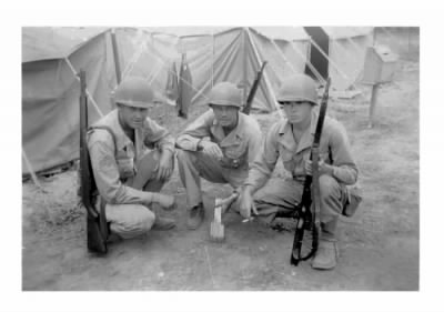 Robert Evins (on right) with buddies - Camp Edwards, Massachusetts late 1942.
