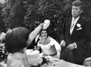 wedding cake is offered bridegroom by flower girl Janet at the luncheon..jpg