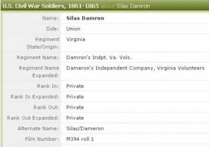 Silas Dameron born 30 May 1831 Pike, KY Civil War record.jpg