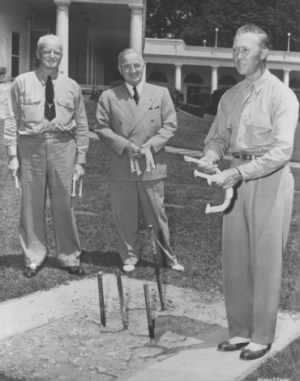 President Harry Truman, Admiral Chester Nimitz, and professional horseshoe pitcher Jimmy Risk.jpg