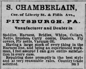 Samuel Chamberlain 1881 Pgh Saddle & Harness Shop Ad.jpg